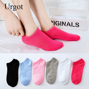 Urgot 10 Pairs Women's Boat Socks Cotton Female Spring Summer Thin Section Girls Sock Solid Color Shallow Mouth Ankle Socks Sox