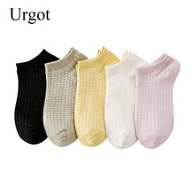 Load image into Gallery viewer, Urgot 5 Pairs Women's 2020 New Pure Cotton Ladies Socks Plain Mesh Breathable Cotton Women Boat Socks Ankle Girls Casual Meias