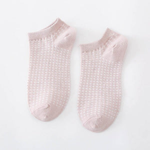 Urgot 5 Pairs Women's 2020 New Pure Cotton Ladies Socks Plain Mesh Breathable Cotton Women Boat Socks Ankle Girls Casual Meias