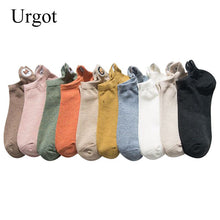 Load image into Gallery viewer, Urgot 5 Pairs Womens Socks Solid Color Embroidery Combed Cotton Boat Socks Spring Summer Funny Cartoon Pattern Ankle Socks Meias