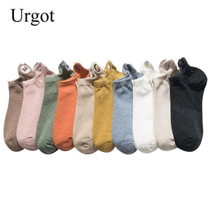 Urgot 5 Pairs Womens Socks Solid Color Embroidery Combed Cotton Boat Socks Spring Summer Funny Cartoon Pattern Ankle Socks Meias