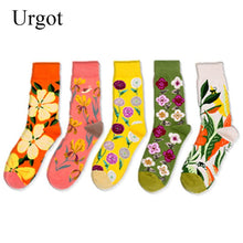 Load image into Gallery viewer, Urgot 5 Pairs Women New Autumn Winter Bright Flowers Series Creative Pattern Tube Cotton Ladies Socks Personality Tide Socks Sox