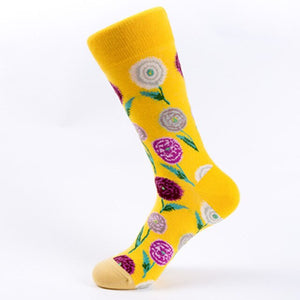 Urgot 5 Pairs Women New Autumn Winter Bright Flowers Series Creative Pattern Tube Cotton Ladies Socks Personality Tide Socks Sox