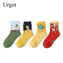 Load image into Gallery viewer, Urgot 6 Pairs Spring Summer New Womens Socks European and American Creative Oil Painting Short Tube Art Socks Women Girls Meias