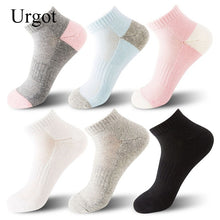 Load image into Gallery viewer, Urgot 5 Pairs Women's New Ladies Socks Breathable Sweat-Absorbent Semi-Brushed Solid Color Ladies Sports Boat Socks Meias Cotton