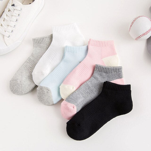 Urgot 5 Pairs Women's New Ladies Socks Breathable Sweat-Absorbent Semi-Brushed Solid Color Ladies Sports Boat Socks Meias Cotton