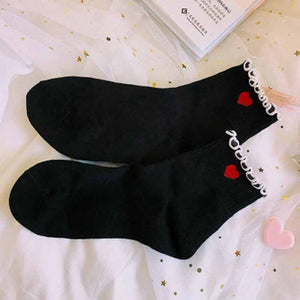 Urgot 3 Pairs New Design Ruffles Lace Womens Socks Sweet Princess Girl Short Cotton Socks Trendy Dots Red Heart Stripe Art Socks