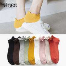 Load image into Gallery viewer, Urgot 5 Pairs Spring Summer Women's New Boat Socks Literary Fresh Fungus Ears Female Socks Thin Section Solid Color Ankle Socks