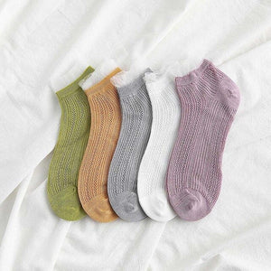 Urgot 5 Pairs Women Ankle Socks Spring Summer Wooden Ear Mesh Ladies Boat Socks Small Fresh Street Solid Color Female Sock Meias