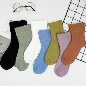 Urgot 5 Pairs Women's Modal Loose Mouth Socks Middle-Aged Cotton Socks Fashion Soft Comfort Breathable Stretch Socks Female Sox