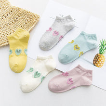 Load image into Gallery viewer, Urgot 5 Pairs Women's Socks Candy Color Spring Summer Cotton Socks Short Ladies Solid Color Love Heart Embroidery Boat Socks Sox