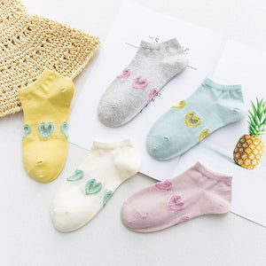Urgot 5 Pairs Women's Socks Candy Color Spring Summer Cotton Socks Short Ladies Solid Color Love Heart Embroidery Boat Socks Sox