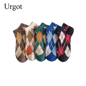 Urgot 5 Pairs Women's High Quality Hand-Stitched Double Needle Socks Japanese Womens Sock Diamond-Shaped College Boat Socks Sox