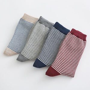 4 Pairs 2020 Autumn Winter Cute Striped Socks Women Fashion Harajuku Candy Color Socks Meias Cotton Thick Warm Long Funny Socks