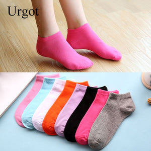 Urgot 10 Pairs Women's Low Cut Socks Cotton Spring Summer Candy Color Invisible Boat Socks Casual Cotton Ankle Socks Wholesale