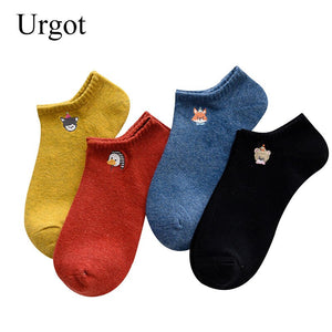 Urgot 6 Pairs Womens Cute Ankle Socks Lovely Embroidery Animals Funny Socks Women Cotton Ladies Boat Sock Meias Calcetines Mujer