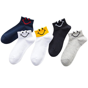 5 Pairs Women's Ankle Socks Summer Autumn Casual Funny Smile Face Socks Woman Cotton Calcetines Ladies Harajuku Cute Girls Socks