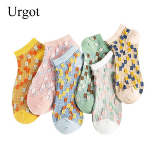 Urgot 5 Pairs Women's Ankle Socks 2020 Fashion Mosaic Patchwork Women Socks Japanese Wild Cotton Boat Socks Calcetines Meias Sox