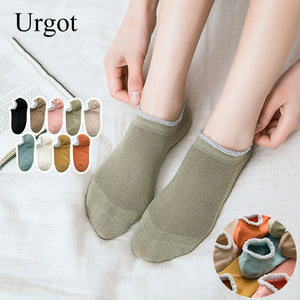Urgot 5 Pairs Women's Socks Shallow Mouth Summer Thin Boat Socks Ins Tide Silicone Non-Slip Gold Wire Mesh Invisible Cotton Sock
