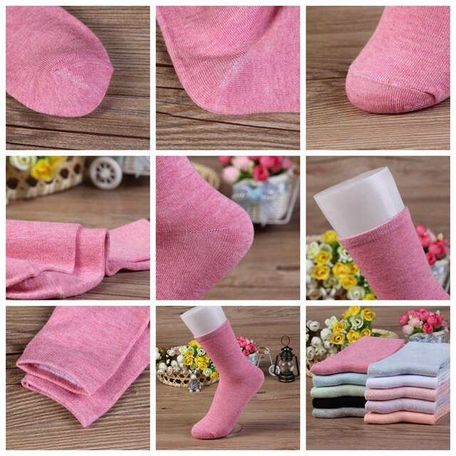 Urgot 5 Pairs Women's Socks Solid Color Candy Color Spring Autumn Socks Breathable Casual Cotton Socks Women Calcetines Meias