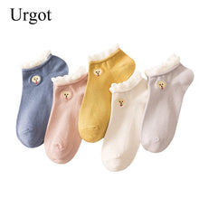 Load image into Gallery viewer, Urgot 5 Pairs Women's Socks Japanese Harajuku Candy Color Boat Socks College Style Spring Summer Funny Cartoon Dogs Socks Meias