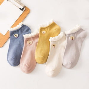 Urgot 5 Pairs Women's Socks Japanese Harajuku Candy Color Boat Socks College Style Spring Summer Funny Cartoon Dogs Socks Meias