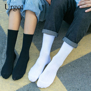 Urgot 5 Pairs Womens Long Tube Socks Korean Sping Autumn Thick Warm Cotton Socks Comfort Ladies Fashion Casual Female Sox Meias