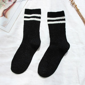 Urgot 5 Pairs 2020 New Gold and Silver Silk Women Socks Striped Long Tube Female Socks Trend Harajuku College Wind Cotton Socks