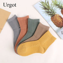 Load image into Gallery viewer, Urgot 5 Pairs Womens New Retro Solid Color Female Tube Socks Cotton Ladies Thin Socks College Style Japan Korea Tide Socks Meias