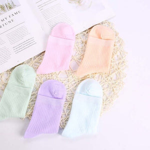 Urgot 5 Pairs Womens New Retro Solid Color Female Tube Socks Cotton Ladies Thin Socks College Style Japan Korea Tide Socks Meias