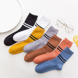 Urgot 5 Pairs Women's Socks Stripe Long Tube Cotton Socks Autumn Winter Ladies Solid Color Striped Casual Socks Calcetines Mujer