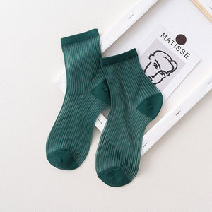 Urgot 5 Pairs Women Spring Summer New Socks Female Tide Japanese Breathable Candy Solid Color Girls Ladies Cute Sexy Sock Meias