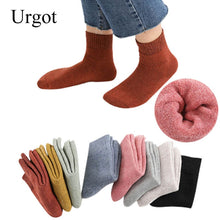 Load image into Gallery viewer, Urgot 3 Pairs Winter Warm Socks For Womens Solid Color Thick Wool Rabbit Hair Socks Snow Against Cold Warm Cotton Sock Sox Meias