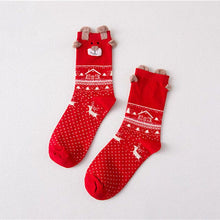 Load image into Gallery viewer, 3 Pairs Women's Socks Winter Warm Christmas Gifts Stereo Socks Soft Cotton Cute Santa Claus Deer Socks Xmas Christmas Socks Cute
