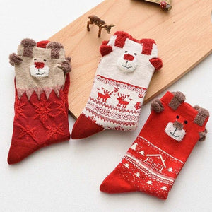 3 Pairs Women's Socks Winter Warm Christmas Gifts Stereo Socks Soft Cotton Cute Santa Claus Deer Socks Xmas Christmas Socks Cute