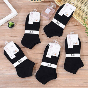 Urgot 5 Pairs Womens Socks Spring Summer Lady Candy Color Boat Socks Black White Grey Ankle Socks Cotton Female Meias Calcetines
