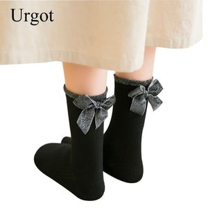 Urgot 5 Pairs Women Socks 2020 Spring Autumn Long Cotton Socks Solid Color Novelty Japanese Funny Retro Cute Bow Socks Meias Sox