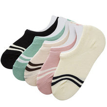 Load image into Gallery viewer, 5 Pairs Women Ankle Sock Lovely Striped Fashion Casual Comfortable Women Socks Summer Thin Non-slip Deodorant Cotton Sock Meias