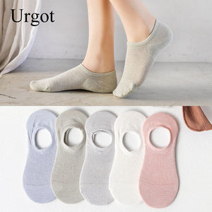 Urgot 5 Pairs Womens Spring Summer New Fresh College Style Hollow Ladies Invisible Boat Socks Silicone Non-Slip Short Sock Meias