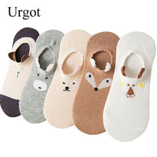 Load image into Gallery viewer, Urgot 5 Pairs Women's Spring Summer Socks Women Cute Pet Stereo Animals Ear Happy Funny Socks Cotton Non-slip Cartoon Boat Socks