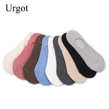 Load image into Gallery viewer, Urgot 6 Pairs 2020 Autumn Korean Women's Socks Female Solid Color Double Needle Boat Socks Anti-shedding Cotton Socks Wholesale