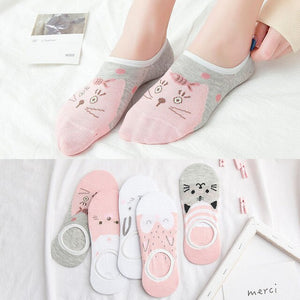 Urgot 5 Pairs Womens Socks New Spring Autumn Ladies Cartoon Sweet Invisible Socks Women Female Low Cut Boat Socks Thin Wholesale
