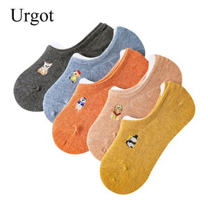 Urgot 5 Pairs Women's Socks Spring Summer Funny Cartoon Embroidery Candy Color Invisible Non-slip Silicone Female Cotton Socks