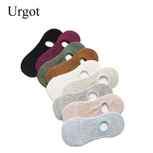 Urgot 5 Pairs Women's Socks Spring Summer Solid Color Silicone Slip-proof Invisible Boat Socks Hollow Shallow-mouthed Ankle Sock