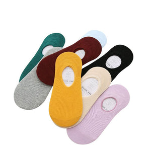 6 Pairs Women Non-slip Silicine Invisible Low Cut Boat Socks Summer Breathable Solid Candy Color Girls Comfortable Cotton Meias