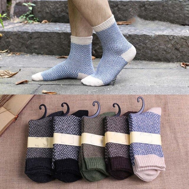 Urgot 5 Pairs/lot Men's Wool Socks National Style Autumn and Winter Models Thick Warm Socks Men Casual Meias Calcetines Hombre