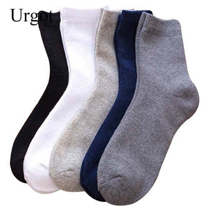 Urgot 5 Pairs Mens Socks Plus Velvet Fuzzy Terry Keep Warm Winter Socks Men Solid Color All-match Casual Business Sox Crew Meias