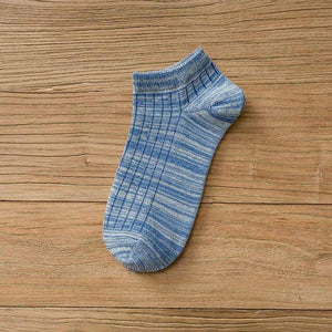 Urgot 5 Pairs Spring Summer Men's Unisex Cotton Boat Socks Invisible Vintage Plaid Striped Ankle Socks Meias Calcetines Hombre