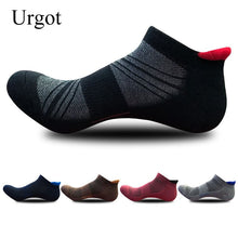 Load image into Gallery viewer, Urgot 5 Pairs New Men's Socks Thickened Towel Bottom Solid Color Dark Flower Boy Sports Boat Socks Ankle Sock Cotton Calcetines