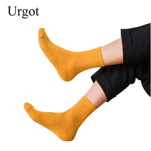 Urgot 3 Pairs Men's Socks Autumn Spring Casual Long Cotton Breathable Candy Color Long Socks Solid Color Crew Calcetines Meias